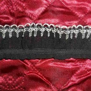 Рюша на резинке боковая черная с белой волной