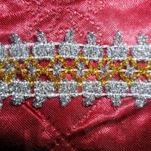 Тесьма № 5 серебро с золотым ромбом